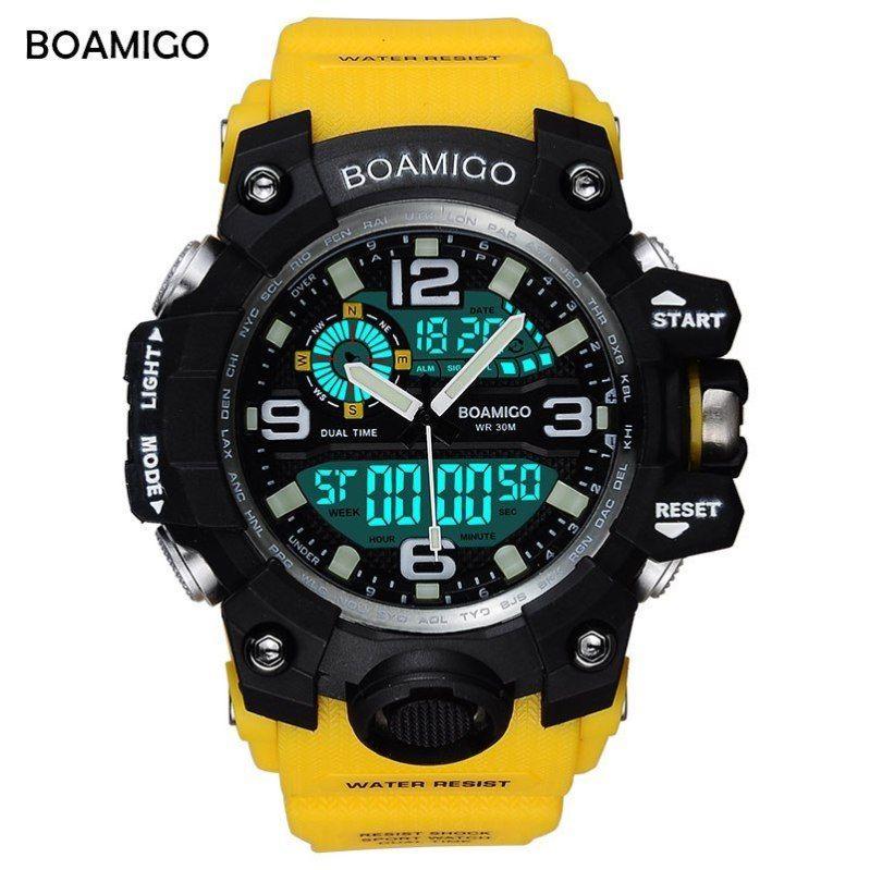 BOAMIGO Brand Men Sports Watches LED Digital Analog Wrist
