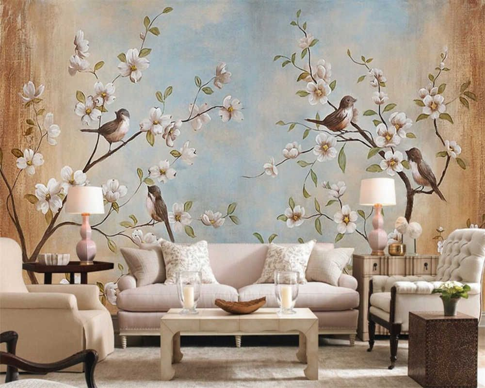 Beibehang Customize Any Size 3d Living Room Wallpaper Modern Flower Bird Peach Painting Picture Murals Wallpaper For Walls 3d Mural Wallpaper For Walls Wallpap Wallpaper Living Room 3d Living Room Mural Wallpaper Beautiful living room background