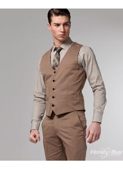 Dark khaki vest and pants, lighter khaki shirt, necktie.... With ...