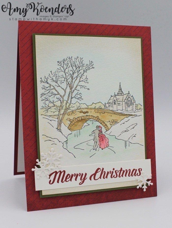 stampin' up cambridge carols watercolored christmas card