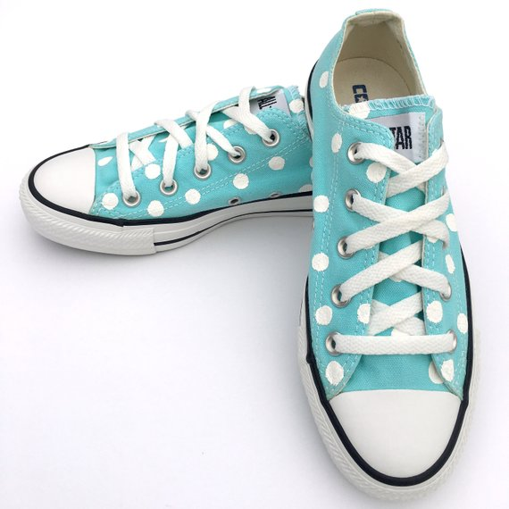 7b1375568c1b ARUBA Blue Converse with Hand Painted White Polka Dots - Women s Size 6 -  Men s Size 4