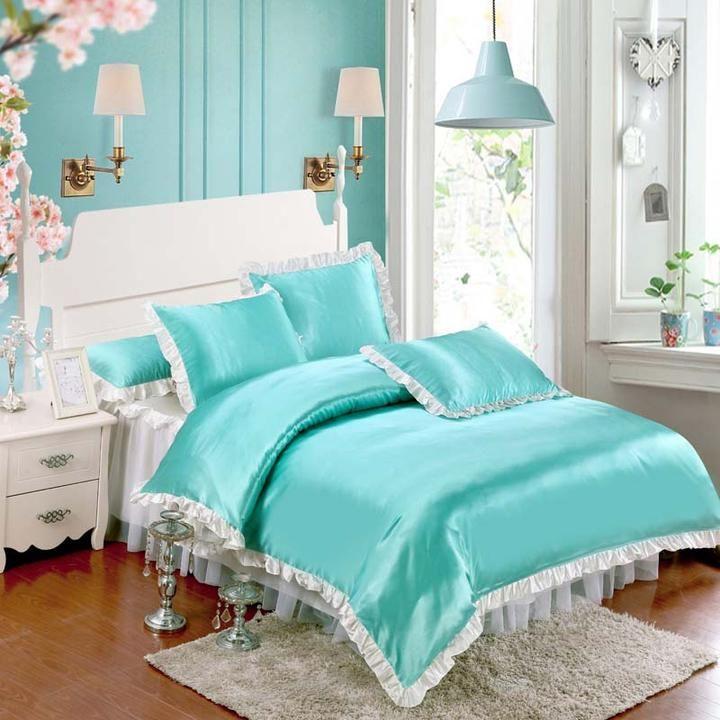 Lace Bed Skirt Bedding Sets blue and white print bedding set 3d ...
