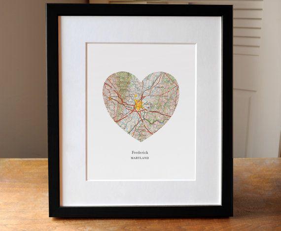 Frederick Maryland Heart Map Print Maryland City Map Art MD