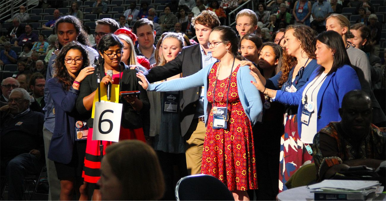 Updated to include a video of the statement. May 18, 2016 6:21pm This statement of unity was read by Ann Jacob, a young adult reserve delegate from the Eastern Pennsylvania Conference, on the floor…