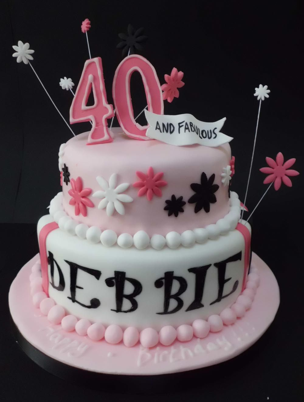 Fabulous Pink 40Th Birthday Cake 40Th Birthday Cakes Birthday Cake For Funny Birthday Cards Online Overcheapnameinfo