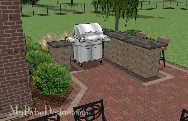 large brick patio design with grill station bar and fire pit 515