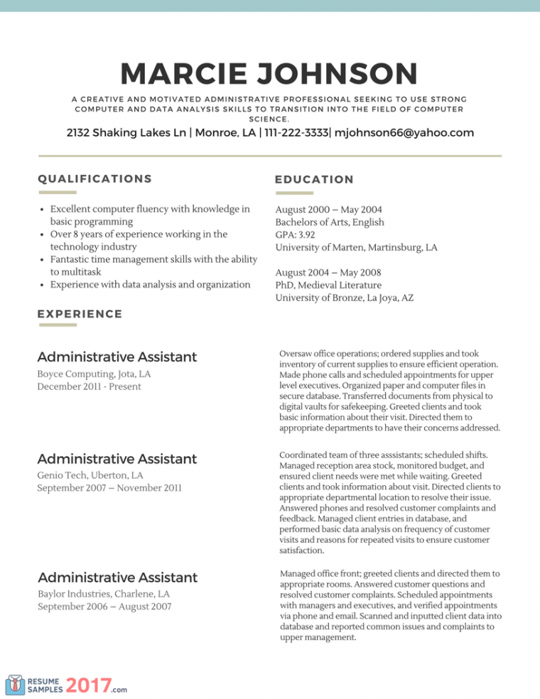 Cv Profile Examples Career Change 5 handtohand