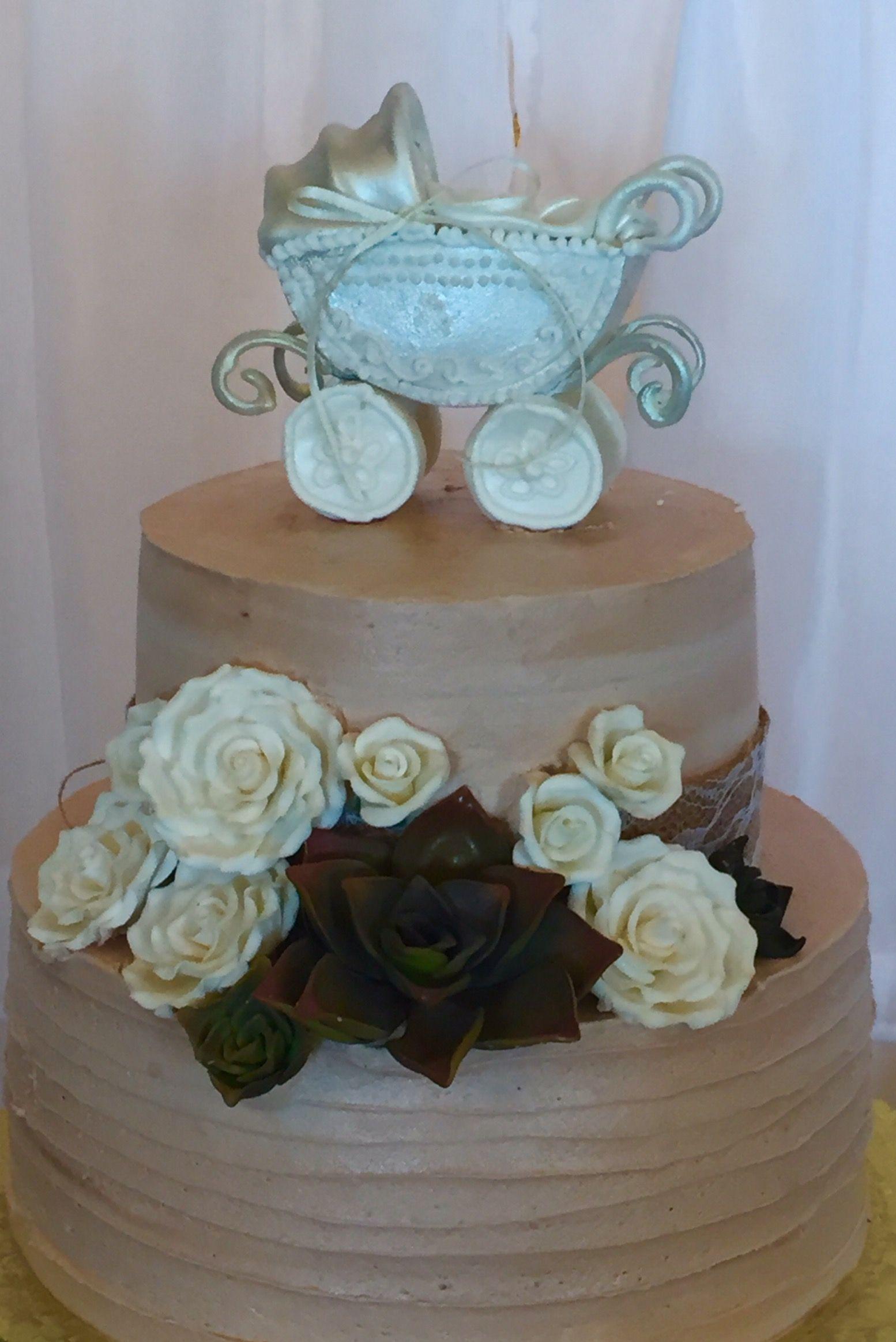 Neutral Gender Rustic Baby Shower Cake