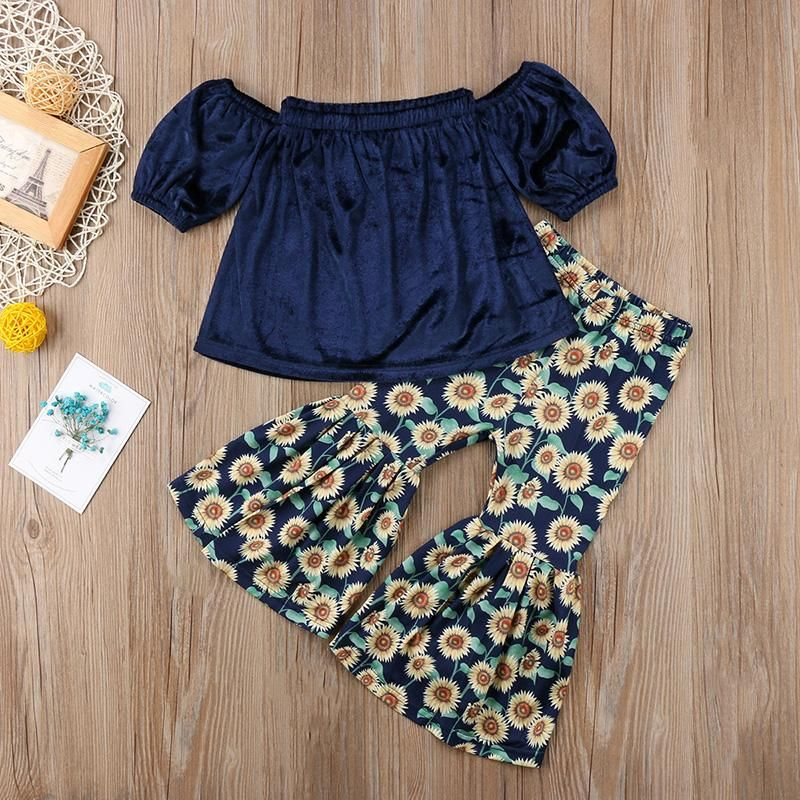 ae64dfcb8f6 Velvet Off Shoulder Top & Sunflower Bell Pants | Kids fashion | Baby ...