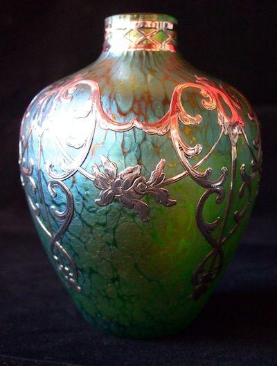 A Superb Crete Papillon Loetz Vase With Applied Silver Decor C 1904