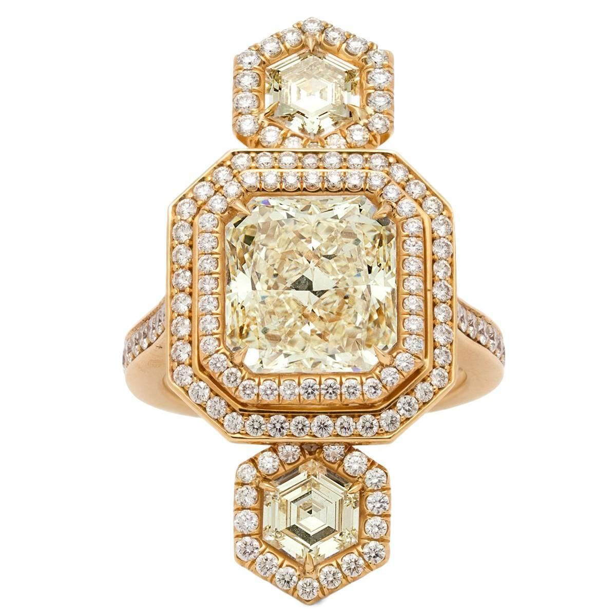 Extraordinary GIA Certified Radiant Cut Triple Yellow Diamond Gold Ring | See more rare vintage Three-Stone Rings at https://www.1stdibs.com/jewelry/rings/three-stone-rings