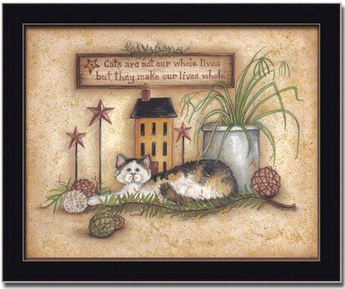 Country Cat Lover Decor Folk Art Print Sign Framed Framed Art by ...