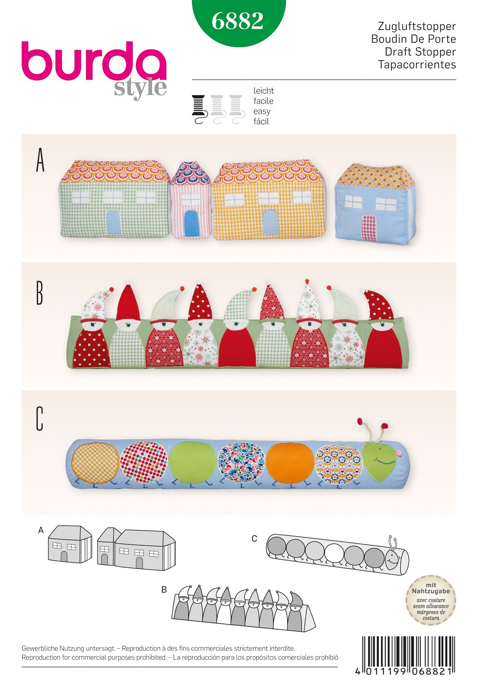 Burda Sewing Pattern - 6882 | Doorstop pattern, Burda sewing ...
