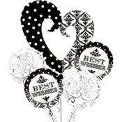 Foil Damask & Polka Dot Best Wishes Balloon Bouquet 5ct  $14.99