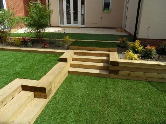 oak sleepers multi level garden - Garden Ideas Using Sleepers