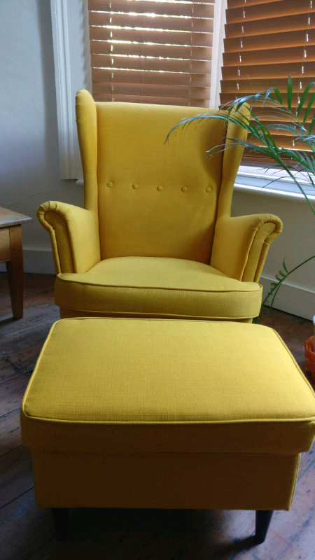 Ikea Chair Strandmon Yellow Including stool in