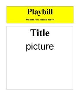 Blank Sample Of Exactly What A Playbill Should Look Like After Students Complete Their Outline Sold Separately They Can Use This To Create