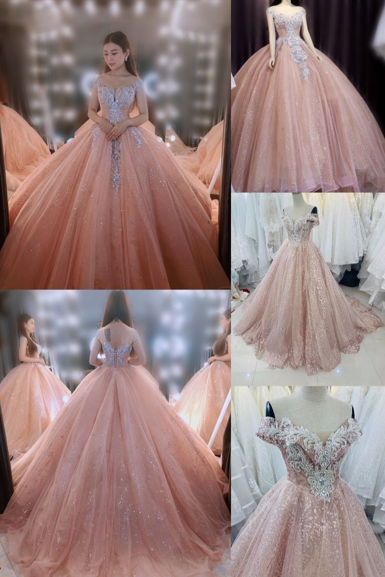 Princess Pastel Pink Off The Shoulder Beaded Bodice Sparkle Ball Gown Wedding Dress With Short Train Glitter Tulle Various Styles In 2020 Ball Gowns Ball Gown Wedding Dress Glitter Wedding Dress,Blush Pink Beach Wedding Dresses