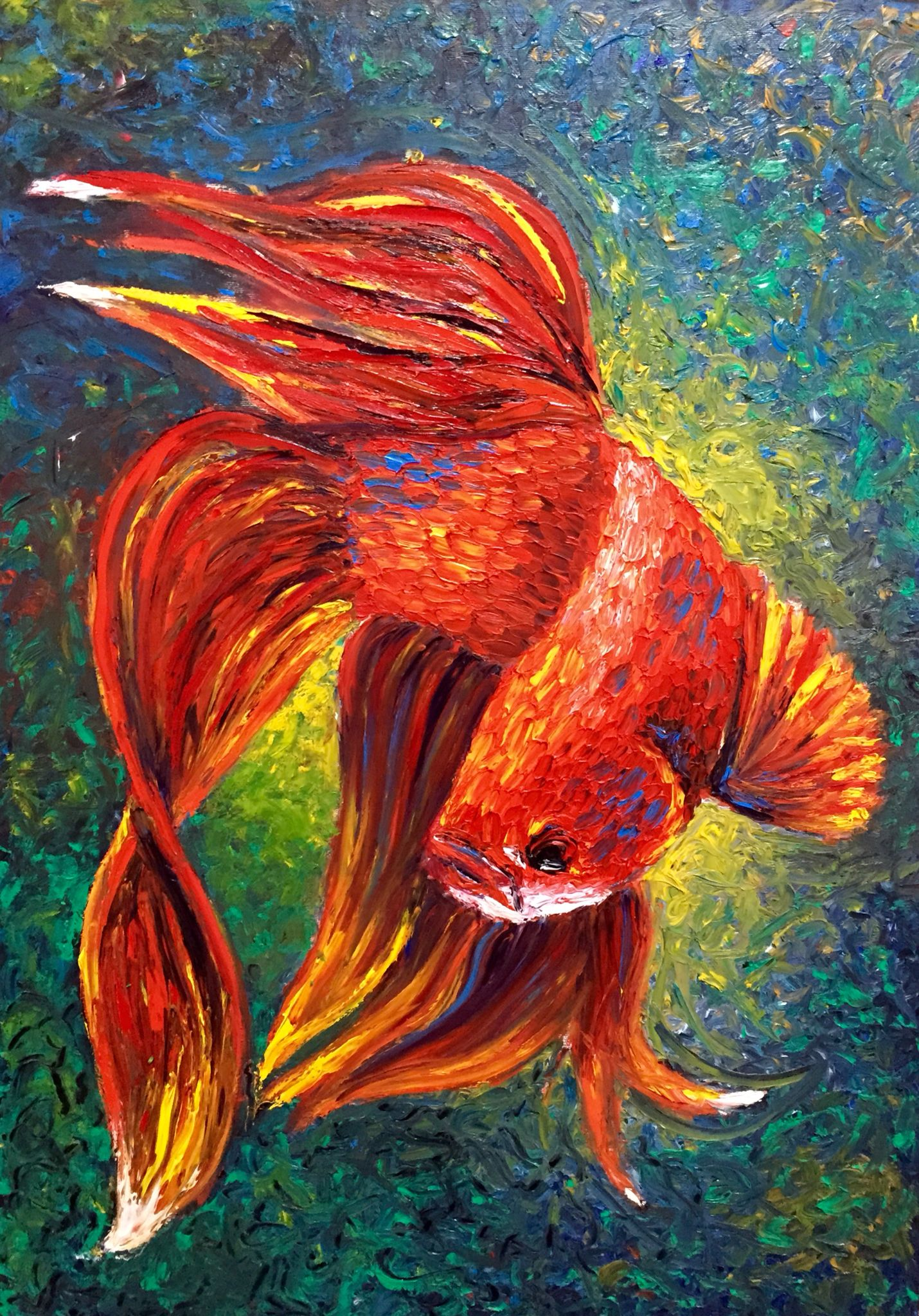 Betta fish oil painting with finger painting by marcelo for Betta fish painting