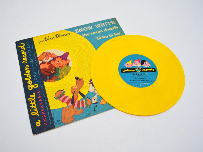 A Little Golden Record Walt Disney 39 S Snow White Hi Ho Hi Ho Yellow Vinyl Vintage Children 39 S Album 78 Rpm Children S Album Vintage Children Vinyl