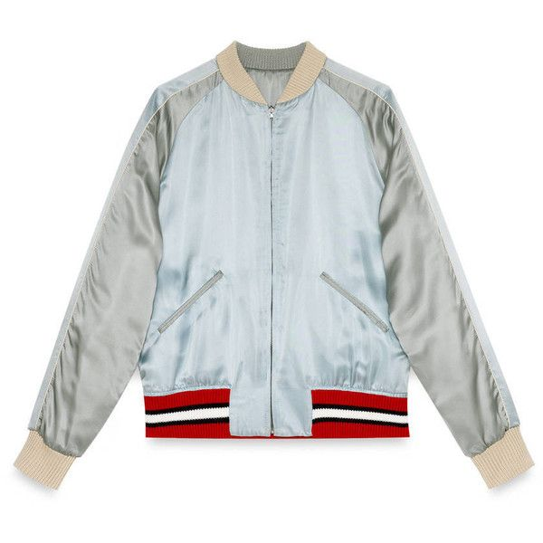 Gucci Reversible Viscose Silk Bomber Jacket ($1,950) ❤ liked on ...