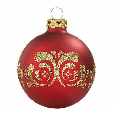 Christbaumkugeln Glas Rot Gold.Christbaumkugeln Mit Umlaufenden Dekoren Rot