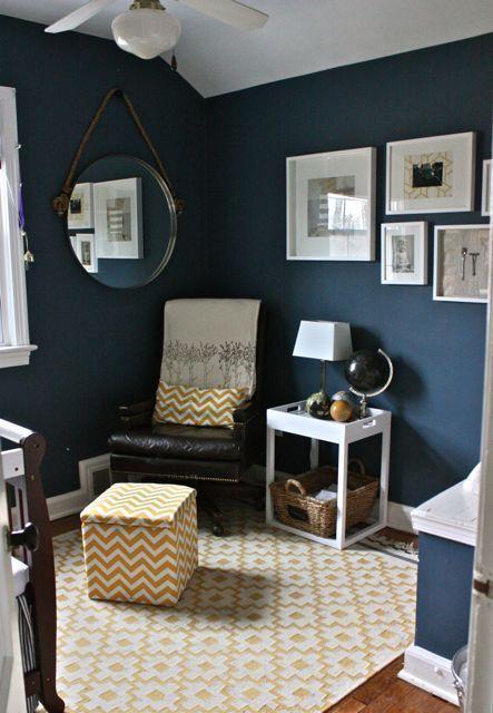 Love these navy/peacock wallsBenjamin Moore \