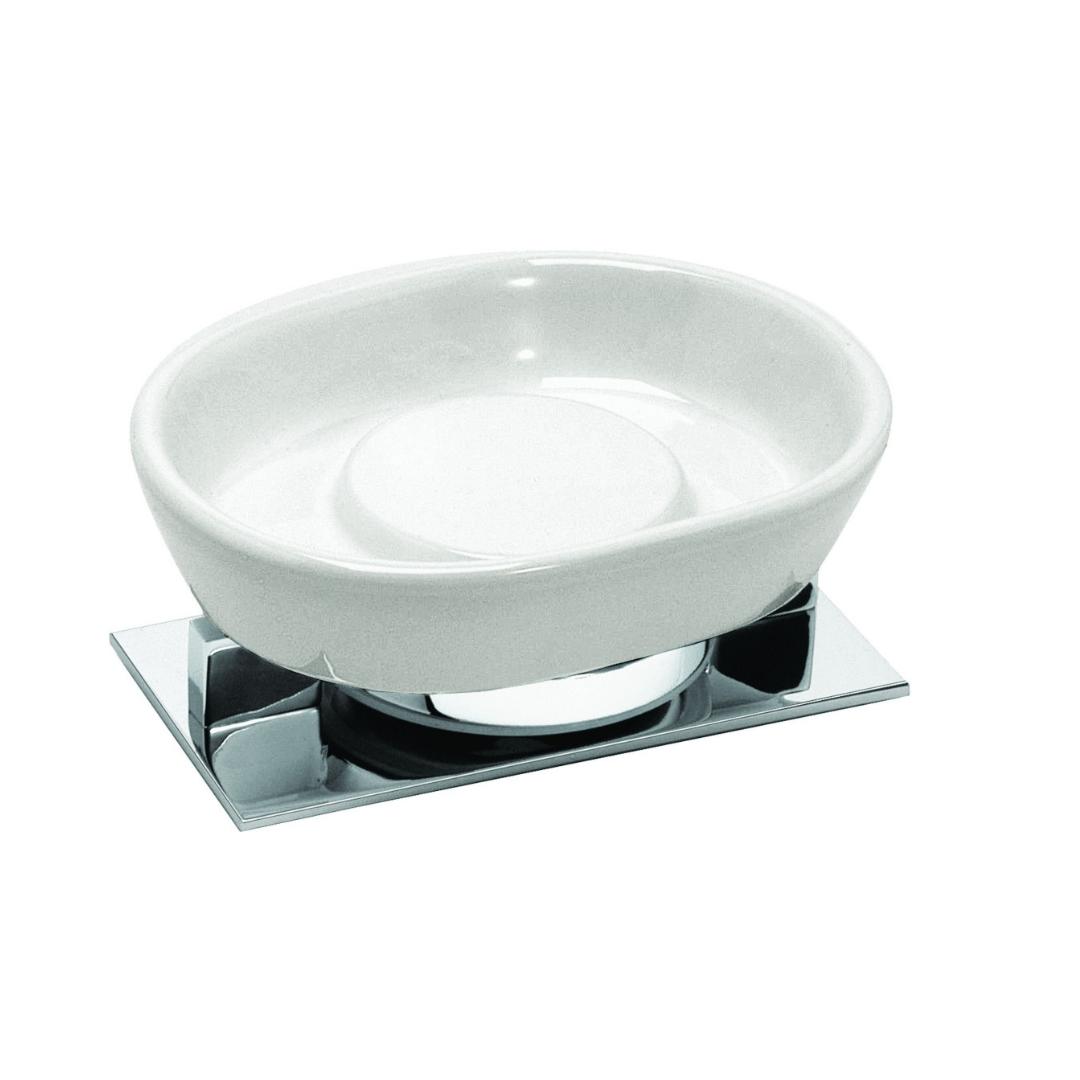 Soap Dish Free Standing Sensis Chrome Ceramic