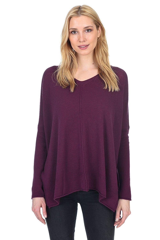 7fa10f0cedf Women s Cashmere Wool Long Sleeve Loose Oversized Pullover V Neck Sweater -  Violet - CO189OKLEOA