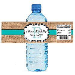 "100 Burlap Blue Stripe Monogram Wedding personalized Water Bottle Labels Great for Engagement Bridal Shower Party 7""x2"""