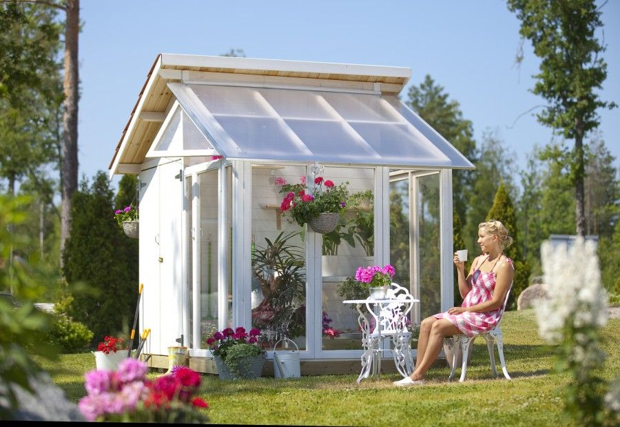 Gerätehaus mit Glasanbau Anbau, Gartenschrank und Haus