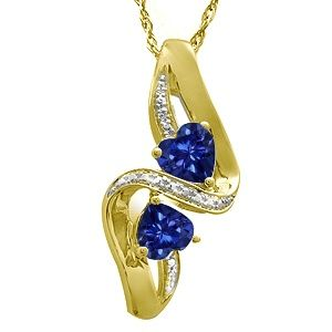 Jared LabCreated Sapphire Couple Heart Necklace Yellow Gold