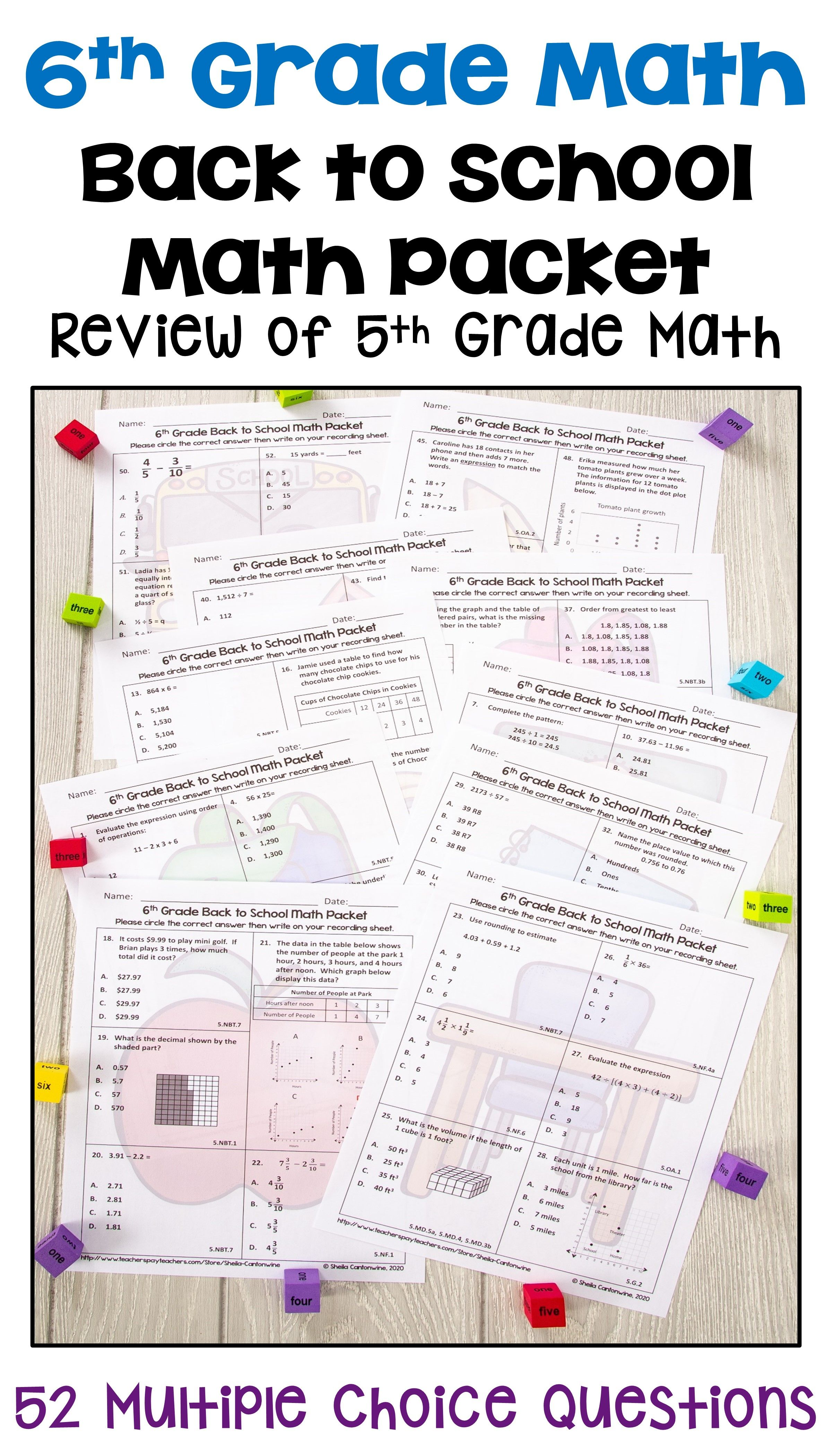6th Grade Math Back To School Packet