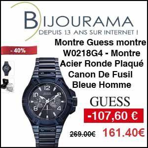 #missbonreduction; Remise de 107,60 € sur la Montre Acier Ronde Plaqué Canon De Fusil Bleue Guess W0218G4 - Homme chez Bijourama.http://www.miss-bon-reduction.fr//details-bon-reduction-Bijourama-i851979-c1831665.html