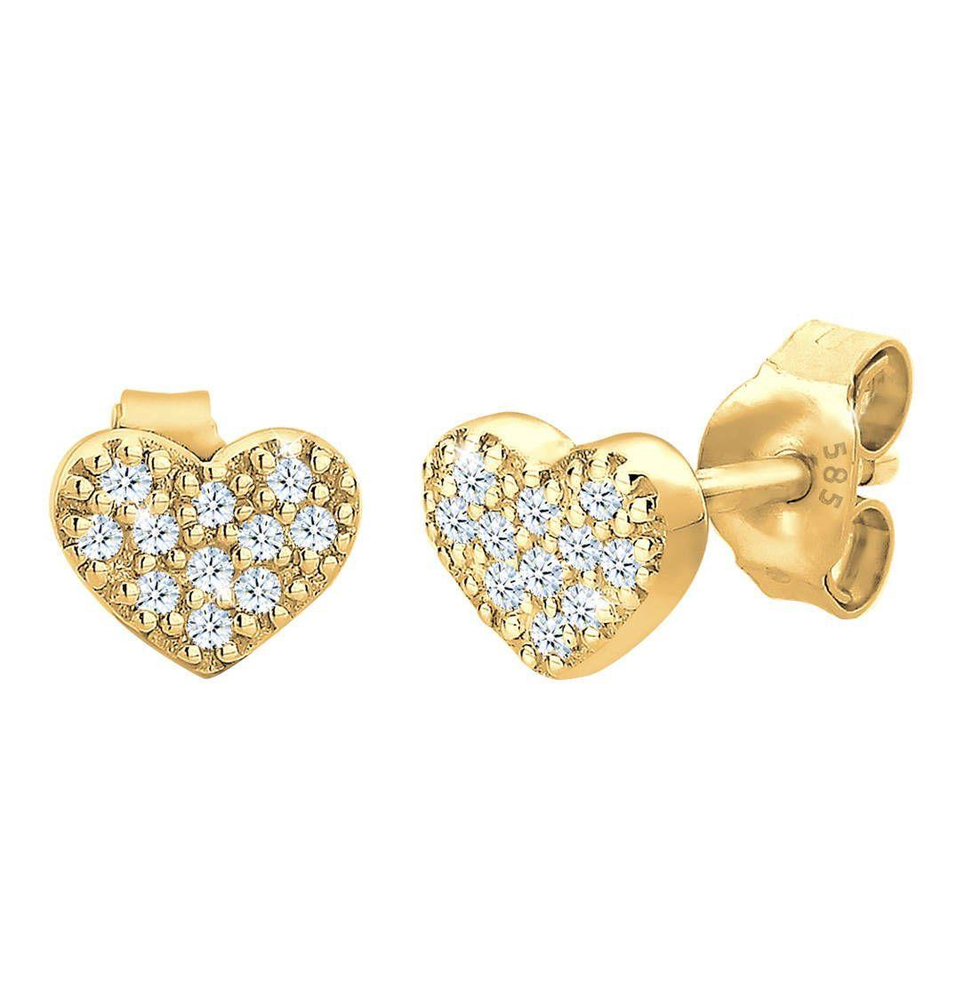 Herz Diamant Basic Filigran 585 GelbgoldOhrringe Herz Diamant Basic Filigran 585 Gelbgold