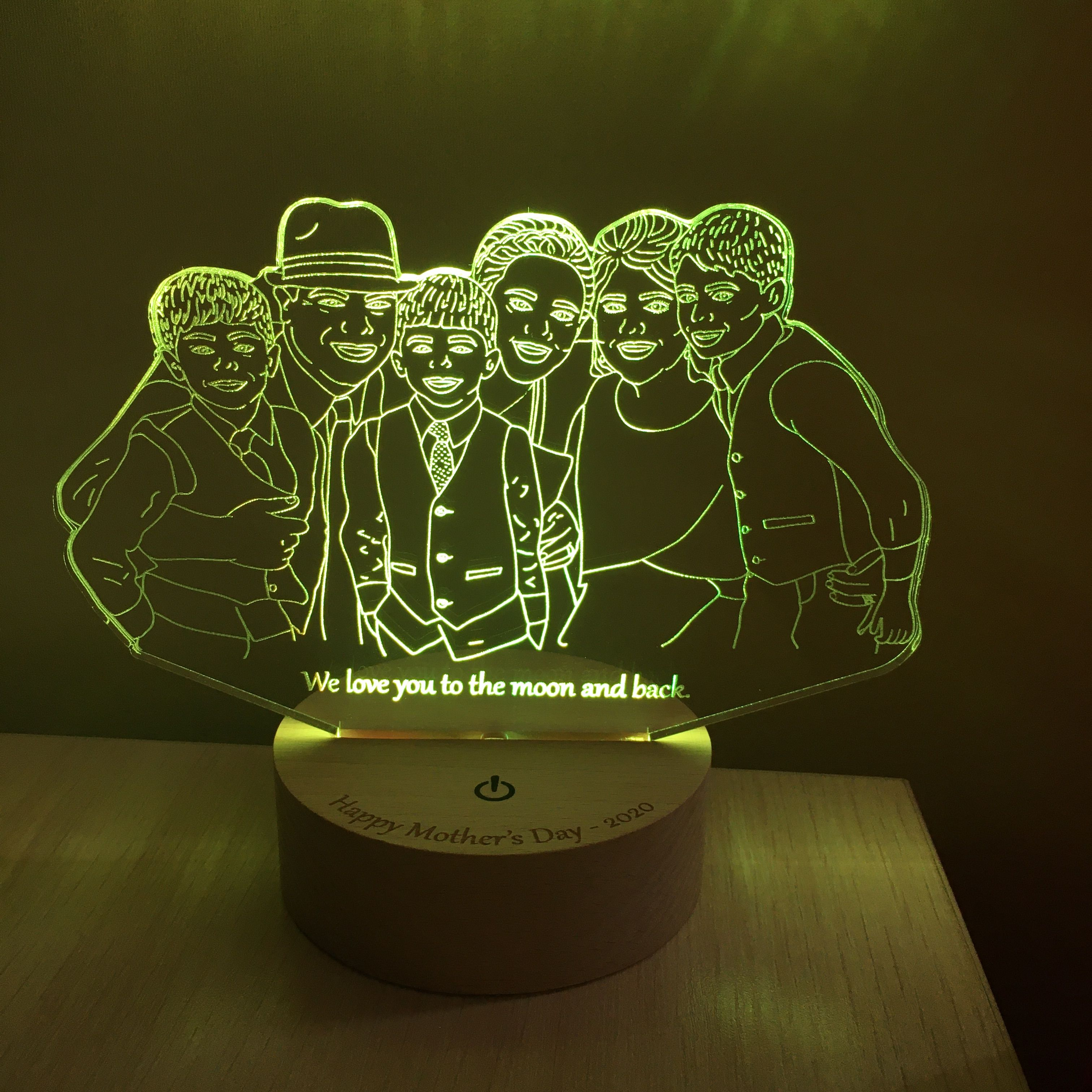 Custom Photo Desk Led Lamp Drawing From Photo 5th Anniversary Etsy In 2020 3d Led Lamp Custom Photo Family Photo Gifts
