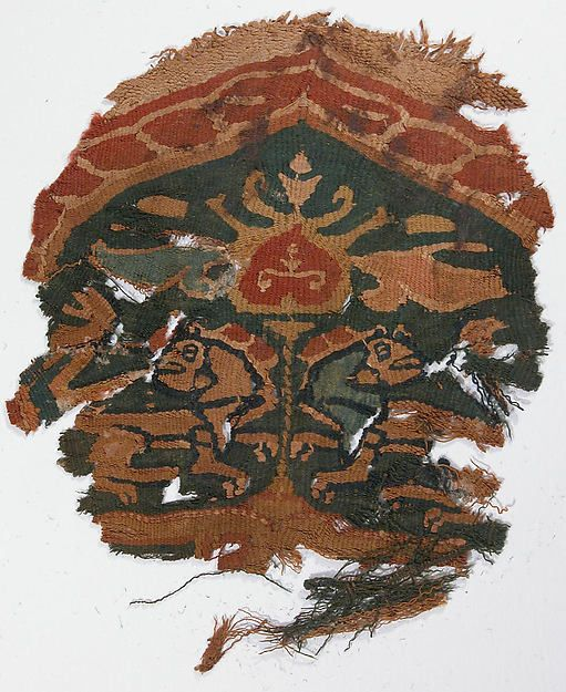 Fragment Date: 6th century Geography: Egypt Culture: Coptic Medium: Linen, wool; tapestry weave Dimensions: H. 7 in. (17.8 cm) W. 6 3/8 in. (16.2 cm) Classification: Textiles-Woven