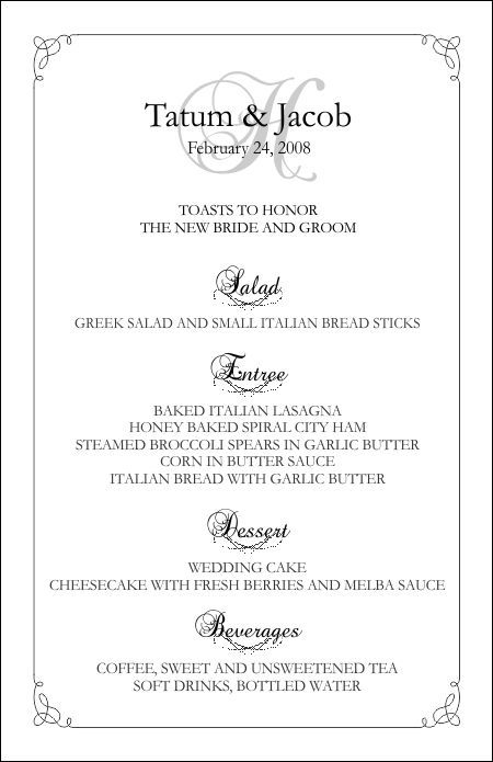 Wedding Menu Template.Wedding Menu Templates Perfect And Easy Menus For Your Big Day