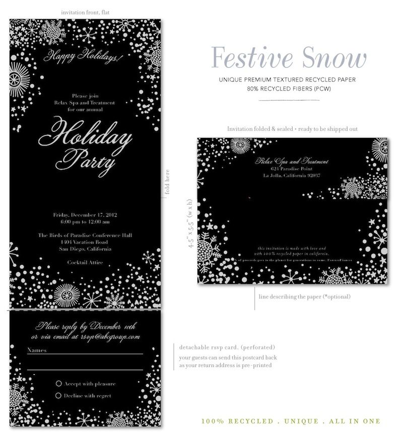 Seal and Send Gala Invitations - Festive Snow Gala invitation - Business Event Invitation