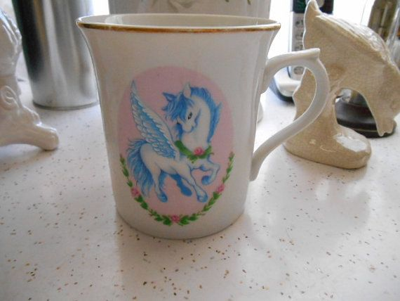 1982 Wallace Berrie and Company Inc Unicorn Porcelain Mug Made in Japan  Shabby White Pink Blue on Etsy, ¥1,063.83