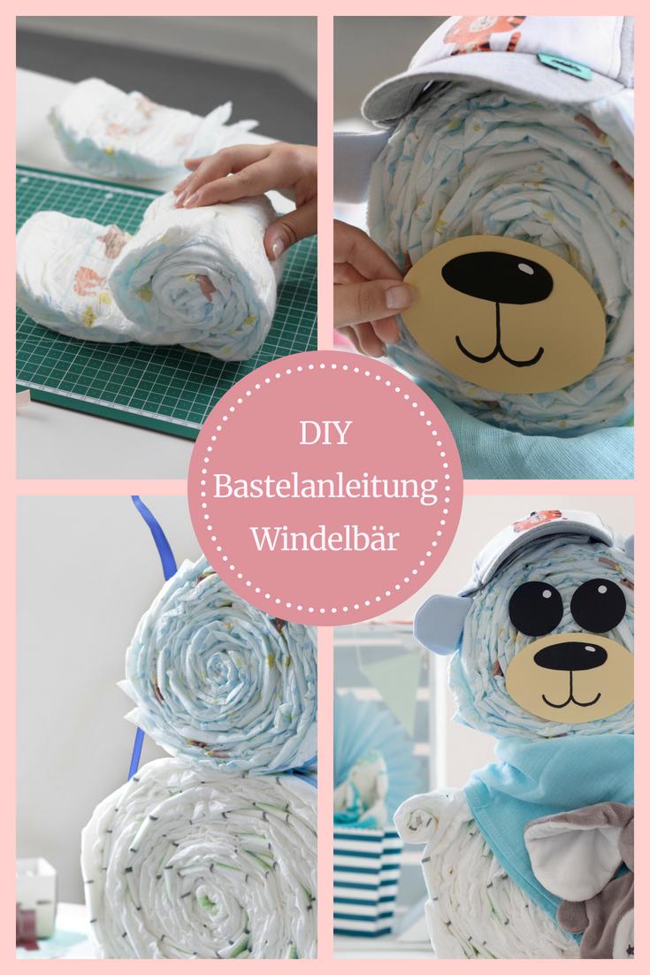 Windelbär Anleitung: Windelbär selber machen, Windelbär basteln... Niedliches DIY Babygeschenk mit Anleitung.