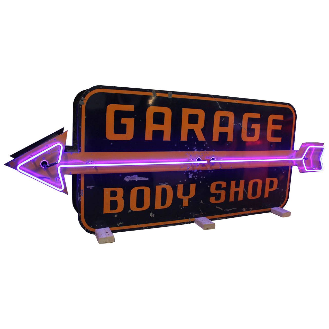 Garage Art Neon Signs 1950s Large Double Sided Garage Body Shop Neon Sign