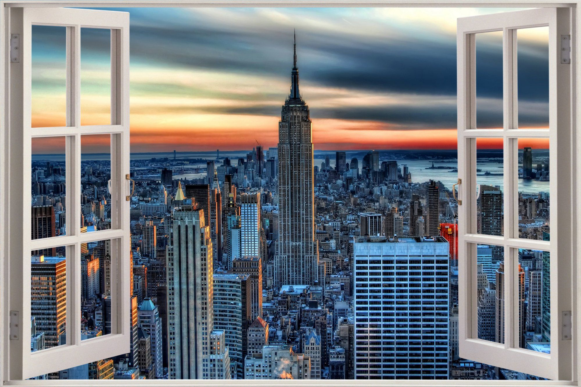 Huge 3d Window View New York City Wall Sticker Film Mural Art Decal
