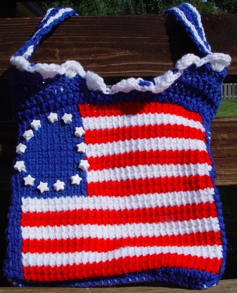 Crocheted Betsy Ross flag bag. Flag bag, Betsy ross flag