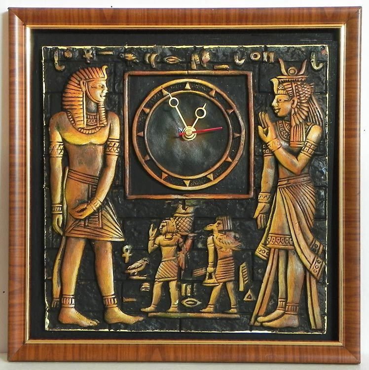 Battery operated wall clock in a decorated terracotta for Egypt mural painting