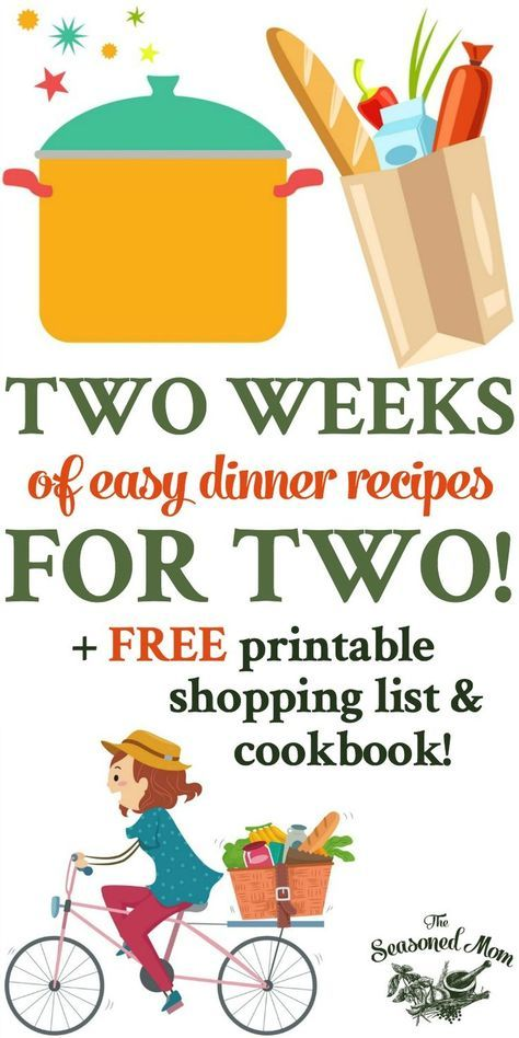 Two Weeks of Easy Dinner Recipes for Two! is part of Easy dinners for two - This free printable cookbook includes a two week meal plan and weekly shopping lists for Two Weeks of Easy Dinner Recipes for Two!