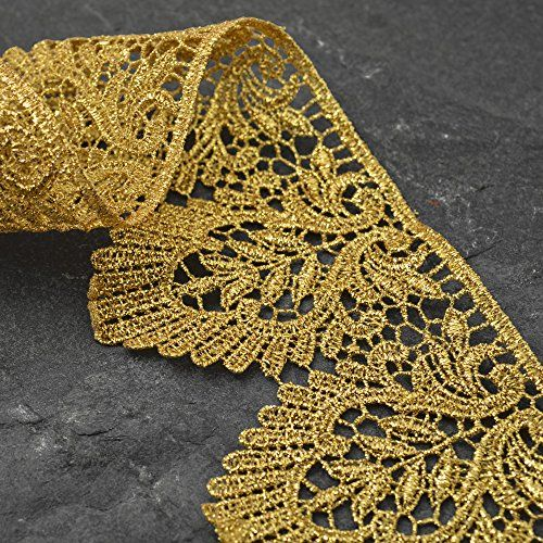 Crafts and Sewing 2-1//4 Inch by 1 Yard SMB-3005 Iron on Metallic Gold Lace Trim for Bridal Costume or Jewelry