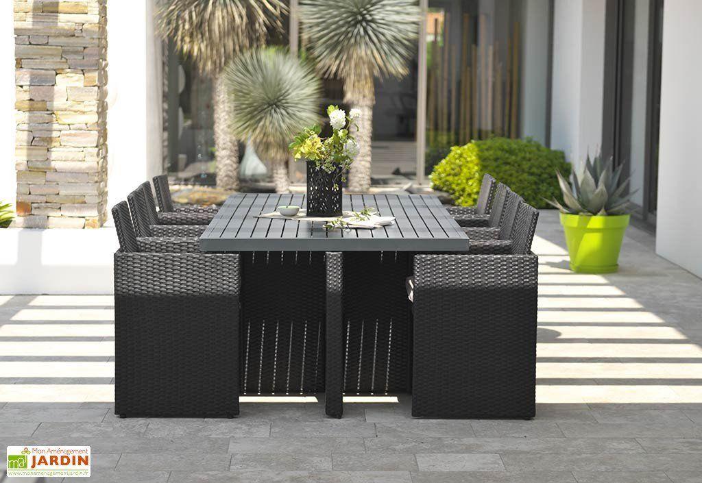 Salon de Jardin Résine Tressée Encastrable Noir : 1 Table + 8 Fts