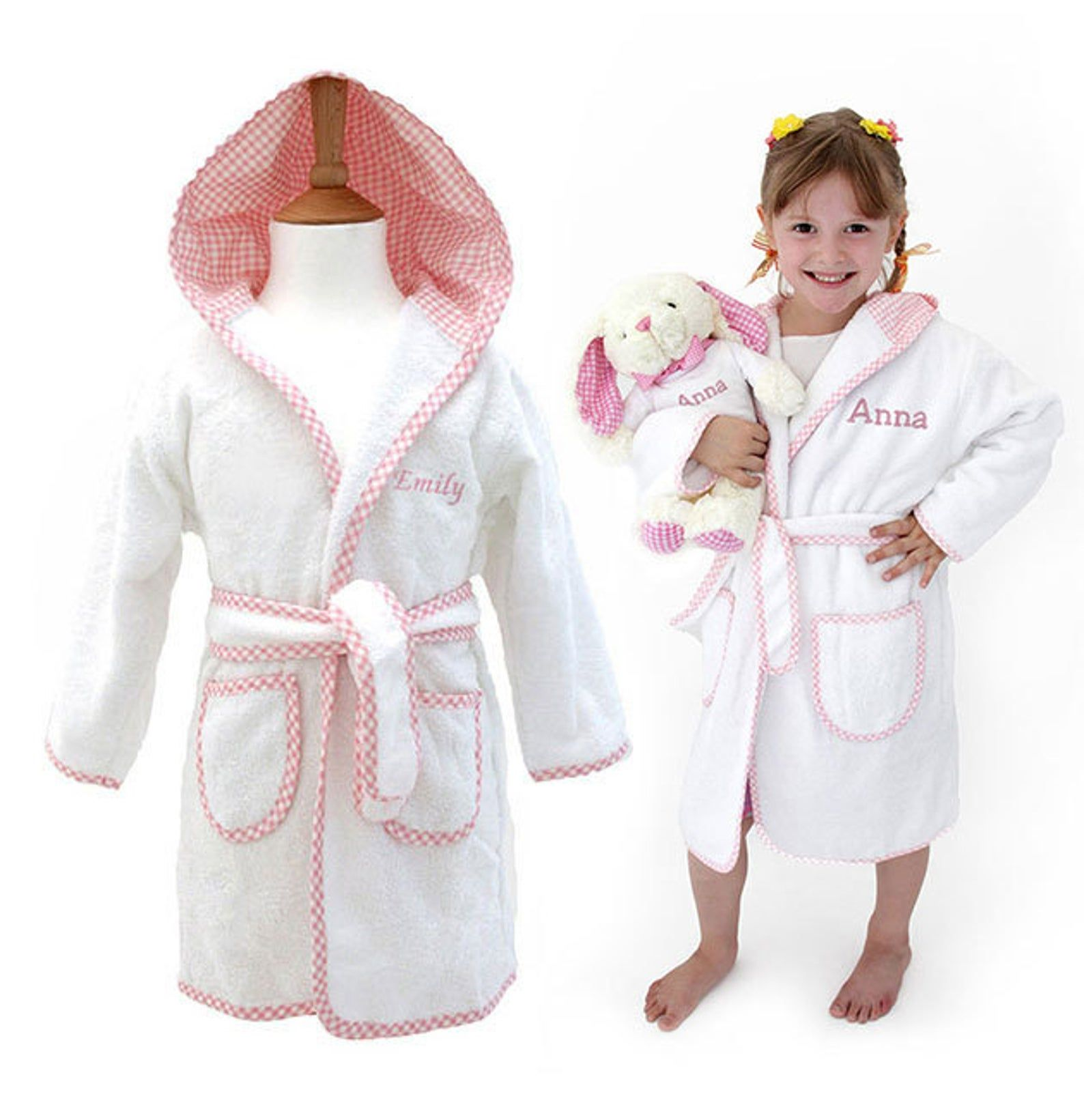 Personalised Children S Towelling Dressing Gown With Hood Personalized Kids Robes Personalised Dressing Gowns For Girls White Pink In 2020 Kids Robes Towel Dress Personalized Dress
