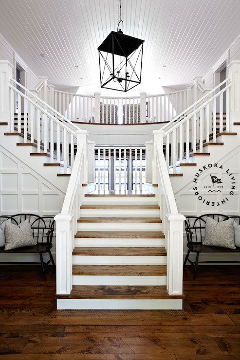 Double Sided Staircase Cottage Entrance Foyer Muskoka Living | Style Of Stairs Inside House | Outside India House | Spiral | Design | Mansion | Historic House